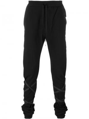 Спортивные брюки с лентами Unravel Project. Цвет: чёрный