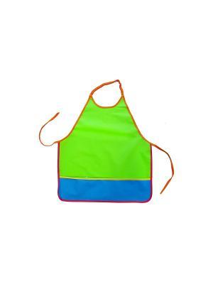 Фартук для творчества на резинке и с карманом ПОМА. Цвет: зеленый