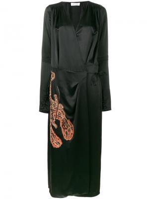 Платье с запахом и вышивкой Attico. Цвет: чёрный