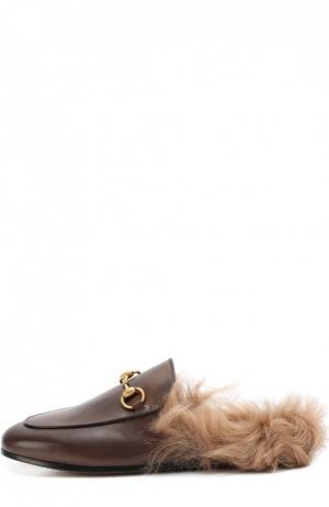 Кожаные сабо Princetown с пряжкой-трензелем Gucci. Цвет: коричневый