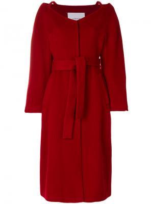 Пальто с запахом Push Button. Цвет: красный