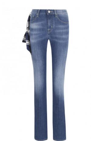 Расклешенные джинсы с потертостями и контрастной прострочкой Jacob Cohen. Цвет: синий