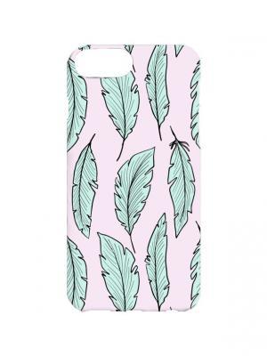 Чехол для iPhone 7Plus Перья на розовом Арт. 7Plus-120 Chocopony. Цвет: розовый