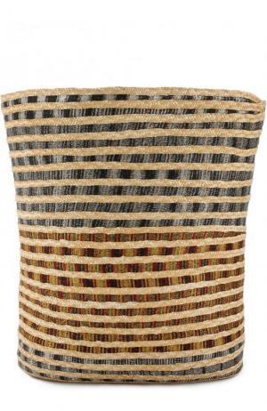 Сумка пляжная из текстиля и соломки Missoni. Цвет: бежевый