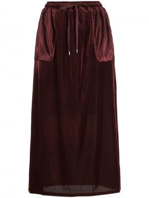 Длинная юбка со шнурком Cityshop. Цвет: красный