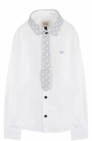 Хлопковая рубашка с контрастной отделкой и логотипом бренда Armani Junior. Цвет: белый