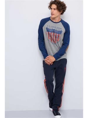 Свитшот U.S. Polo Assn.. Цвет: серый, синий
