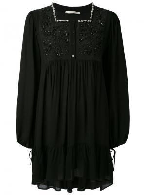 Декорированное платье с цветочными элементами Amen. Цвет: чёрный