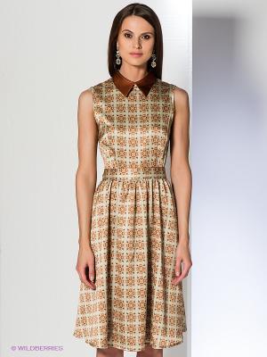 Платье Анна Чапман. Цвет: светло-зеленый, коричневый