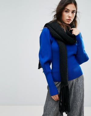 Urbancode Вязаный oversize-шарф с кисточками. Цвет: черный