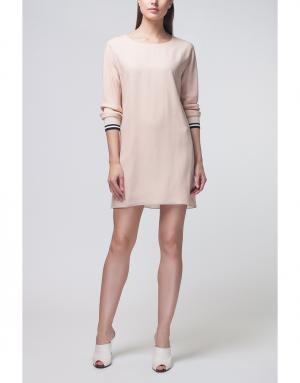 Однотонное платье Bouchra Jarrar. Цвет: палевый розовый, черный