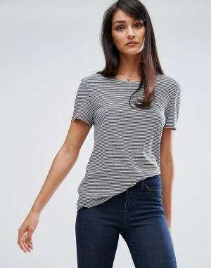 MiH Jeans Мягкая футболка в полоску стиле ретро M.i.h. Цвет: синий