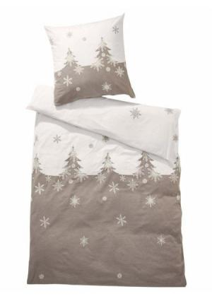 Постельное белье Heine Home. Цвет: серо-коричневый/белый