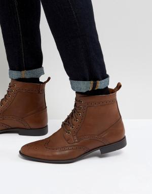 ASOS Светло-коричневые ботинки из искусственной кожи. Цвет: рыжий