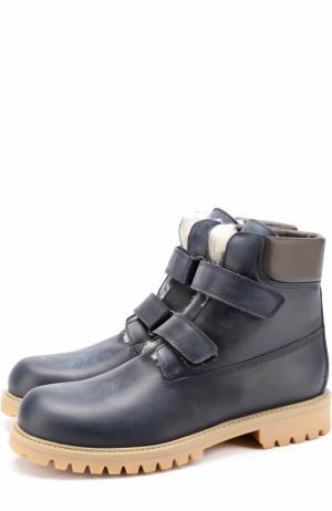 Утепленные кожаные ботинки с застежками велькро Gallucci. Цвет: синий