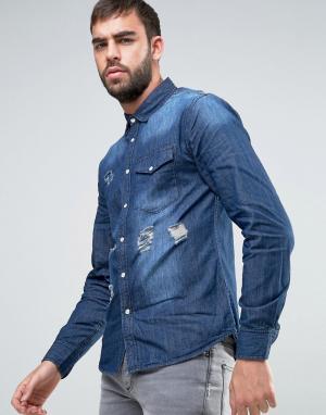 Dead Vintage Выбеленная джинсовая рубашка с потертой отделкой. Цвет: синий