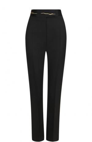 Шерстяные брюки с широким декорированным поясом Haider Ackermann. Цвет: черный