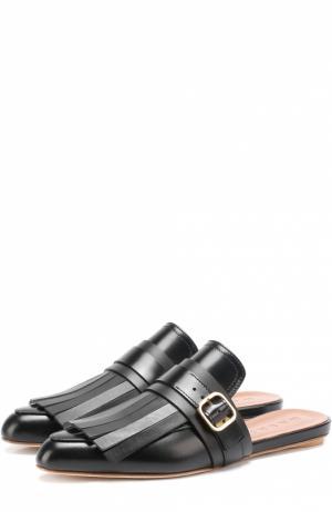 Кожаные сабо с бахромой и ремешком Marni. Цвет: черный