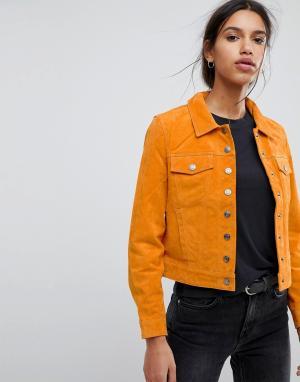 Selected Замшевая куртка Femme. Цвет: рыжий