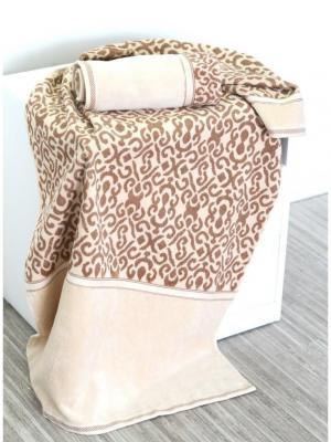 Набор махровых полотенец ФЛОРА песочный (50*90+70*140) TOALLA. Цвет: светло-коричневый