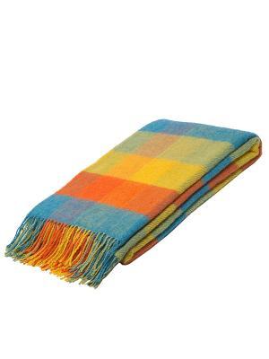 Плед РУНО. Цвет: бирюзовый, оливковый, оранжевый, желтый
