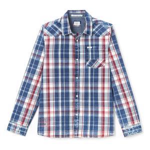 Рубашка с длинными рукавами PEPE JEANS. Цвет: синий/ красный