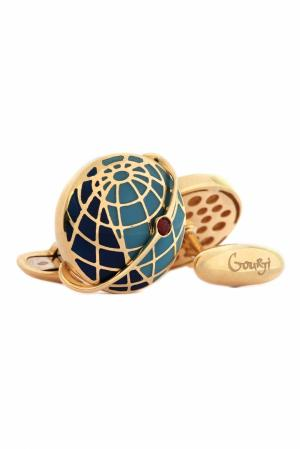 Золотые запонки «Спутник октября» Gourji. Цвет: золотой, бирюзовый