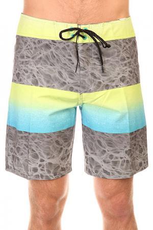Шорты пляжные  Fade X 18 Neon Lime Billabong. Цвет: серый,желтый,голубой