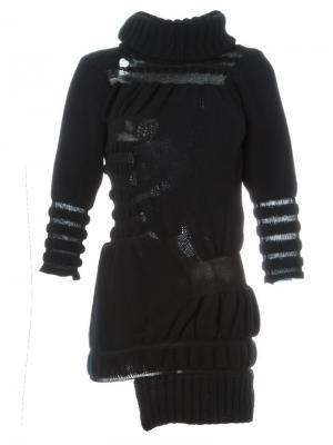 Трикотажное платье с рваной отделкой Helen Lawrence. Цвет: чёрный