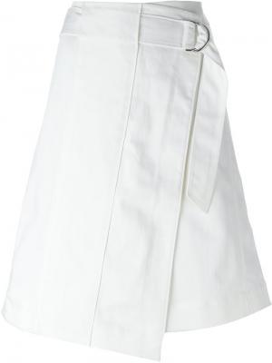 Асимметричная юбка с запахом Tory Burch. Цвет: белый