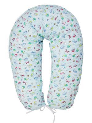 Подушка для беременных и кормящих трикотаж ФЭСТ. Цвет: белый,зеленый,голубой