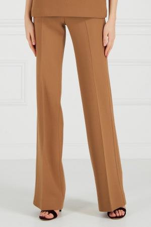 Коричневые брюки из крепа Chapurin. Цвет: горчичный