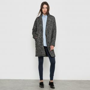 Пальто из ткани меланж с зигзагообразным узором SCHOOL RAG. Цвет: черный