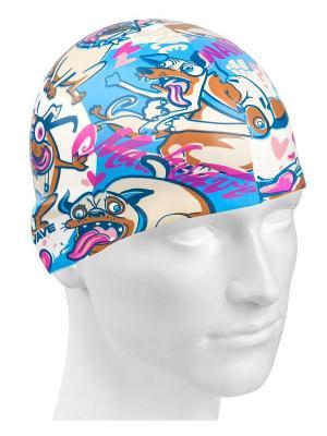 Шапочка для плавания Mad Wave. Цвет: белый, коричневый, голубой