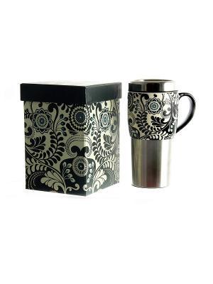 Кружка для чая/кофе Цветочный узор термо Русские подарки. Цвет: серебристый, черный