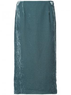 Бархатная прямая юбка Cityshop. Цвет: синий
