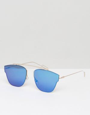 7X Солнцезащитные очки-авиаторы с цветными стеклами. Цвет: золотой