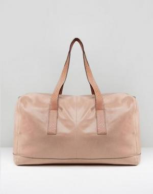 Urbancode Розовая кожаная сумка с отделкой под змеиную кожу на ручках. Цвет: розовый