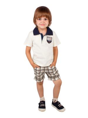 Футболка-поло, шорты, коллекция Автошоу Апрель. Цвет: молочный, коричневый