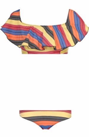 Раздельный купальник в контрастную полоску с бра оборками Lisa Marie Fernandez. Цвет: разноцветный