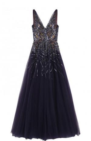 Платье-макси с пышной юбкой и контрастной вышивкой Jenny Packham. Цвет: фиолетовый