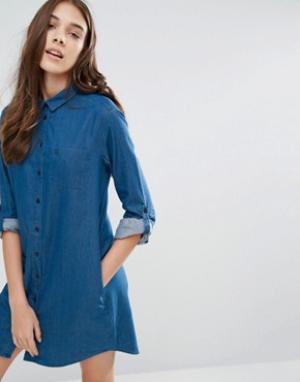 Jack Wills Платье-рубашка из шамбре Maggie. Цвет: синий