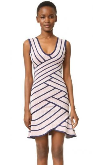 Платье Millie Herve Leger. Цвет: пыльная азалия комбо