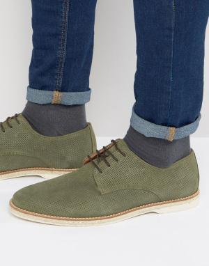 Dune Замшевые туфли на шнуровке Barrock. Цвет: зеленый
