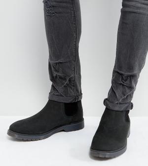 ASOS Черные кожаные ботинки челси для широкой стопы с рифленой подошвой ASO. Цвет: черный