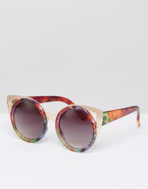 Jeepers Peepers Солнцезащитные очки с золотистой металлической отделкой Peeper. Цвет: золотой