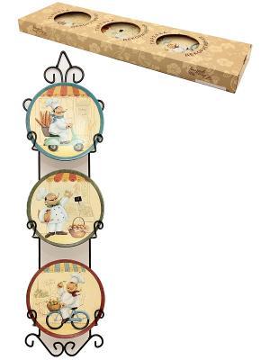 Тарелка настенная Веселые поварята Elan Gallery. Цвет: бежевый, бордовый, голубой, зеленый