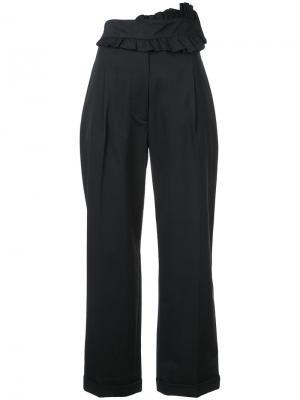 Укороченные брюки с оборками на поясе Carven. Цвет: чёрный