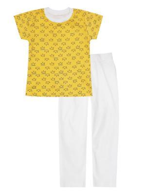 Пижама: футболка, брюки Коллекция Корона КОТМАРКОТ. Цвет: бирюзовый,молочный,желтый