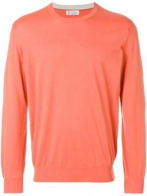 Джемпер с контрастной окантовкой Brunello Cucinelli. Цвет: жёлтый и оранжевый